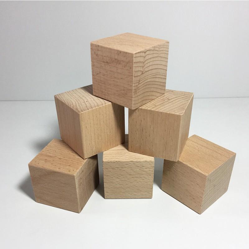 Cubes en bois brut 50mm - Lot de 6 cubes