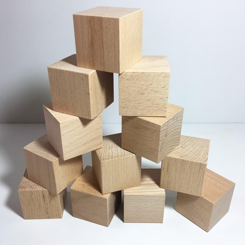 Cubes en bois brut 50mm - Lot de 12 cubes