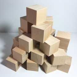 Cubes en bois brut 50mm - Lot de 24 cubes