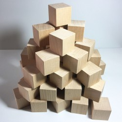 Cubes en bois brut 50mm - Lot de 48 cubes