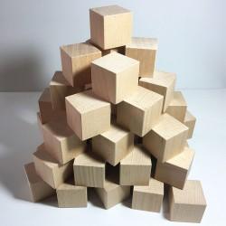 Cubes en bois brut 50mm - Lot de 48 cubes