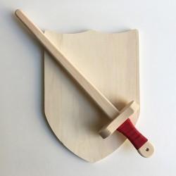 Pack Arthur - Épée et bouclier en bois - Jouet en bois - Bouclier vierge à décorer