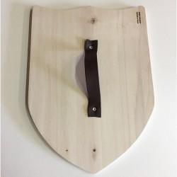 Bouclier en bois à décorer et personnaliser - Poignée en cuir