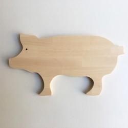 Norbert - Planche à découper bois en forme de cochon - Grande taille 47 cm