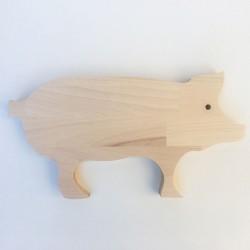 Norbert - Planche à découper bois en forme de cochon - Petite taille 34 cm