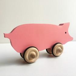 Hubert le cochon rose à roulettes - Jouet en bois - Photo 3