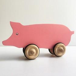 Hubert le cochon rose à roulettes - Jouet en bois - Photo 1