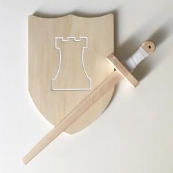 Pack Arthur - Épée et bouclier en bois - Jouet en bois - Bouclier avec tour de château fort blanche à décorer