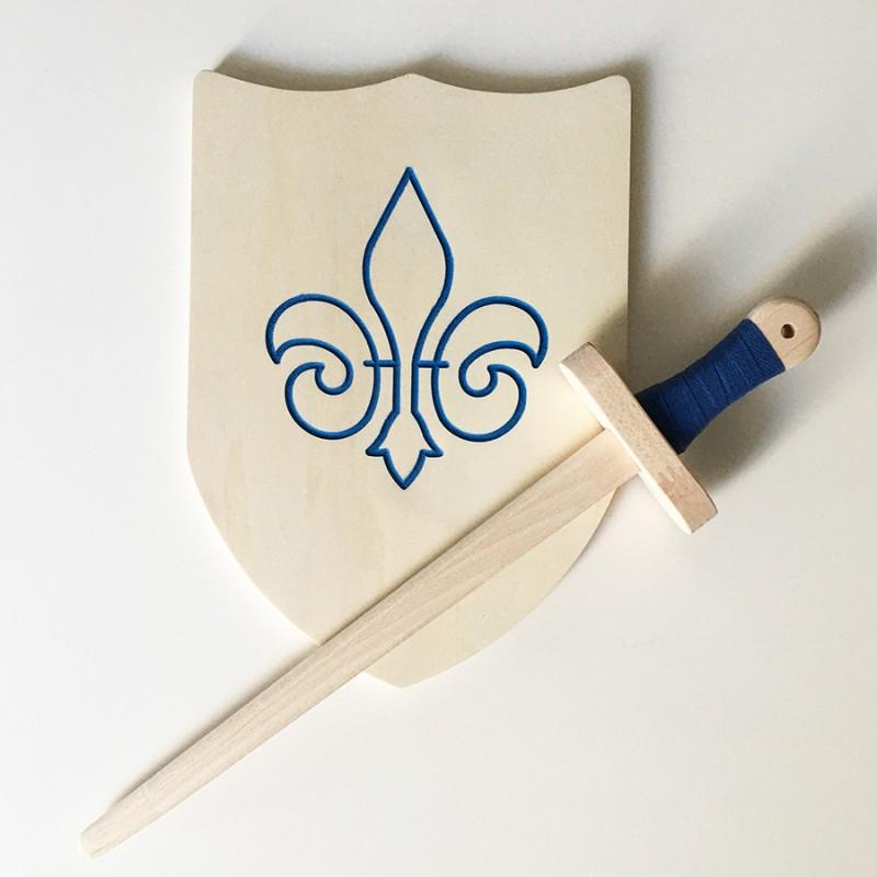 Pack Arthur - Épée et bouclier en bois - Jouet en bois - Bouclier avec fleur de lys bleue à décorer