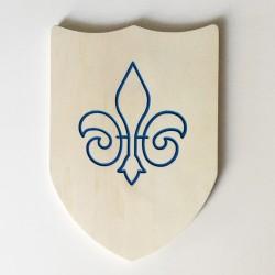 Bouclier en bois avec fleur de lys bleue à décorer et personnaliser