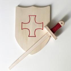 Pack Arthur - Épée et bouclier en bois - Jouet en bois - Bouclier avec croix des templiers rouge à décorer