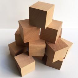 Cubes en bois brut - Lot de...