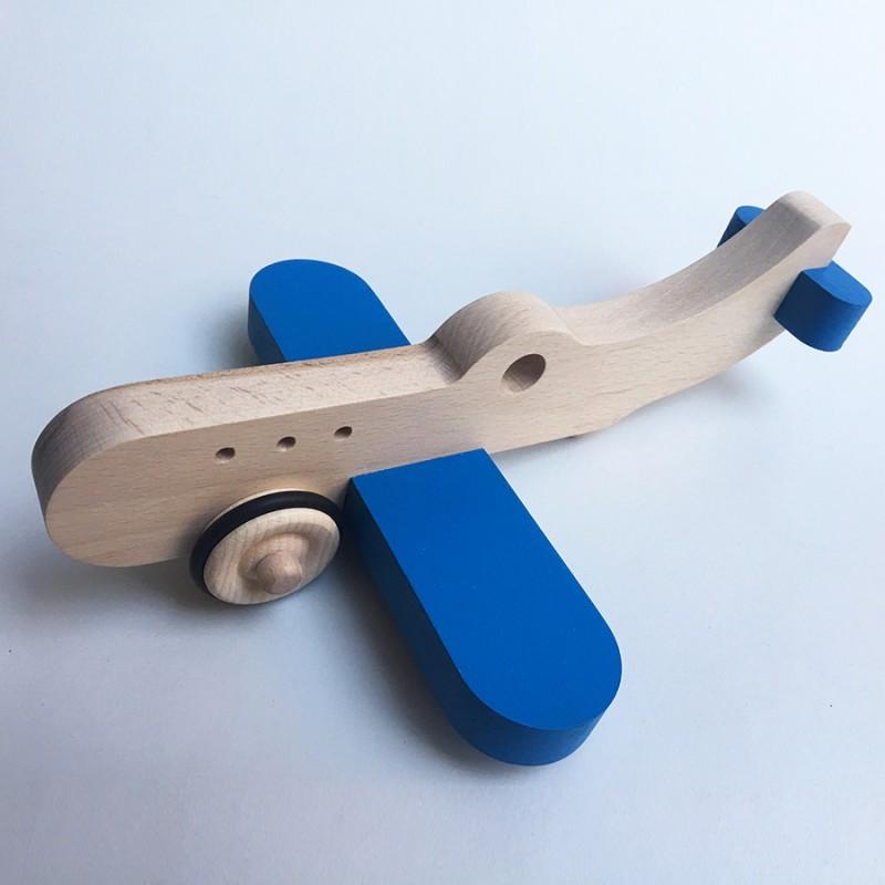 Amélia l'avion en bois à roulettes - Bleu - Jouet en bois - Photo 1