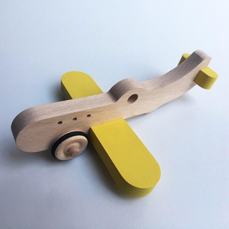 Amélia l'avion en bois à roulettes - Jaune - Jouet en bois - Photo 1