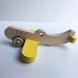 Amélia l'avion en bois à roulettes - Jaune - Jouet en bois - Photo 2