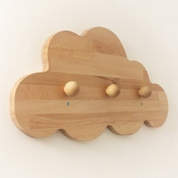 Jeanne la patère nuage en bois - 3 crochets - Photo 2