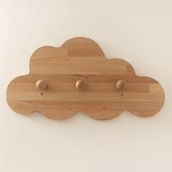 Jeanne la patère nuage en bois - 3 crochets - Photo 3