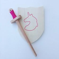 Pack Arthur - Épée et bouclier en bois - Jouet en bois - Bouclier avec licorne rose à décorer
