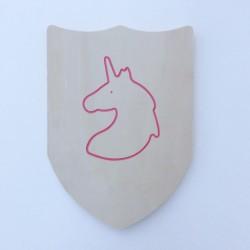 Bouclier en bois avec licorne rose à décorer et personnaliser