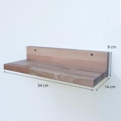 Louise - Petite tablette/étagère murale en bois sans rebord - 34 cm de largeur