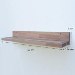 Louise - Tablette/Étagère murale en bois sans rebord - 52 cm de largeur