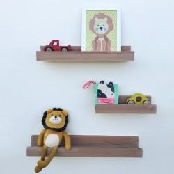 Louise - Tablettes et étagères murales en bois avec rebord - Exemple déco