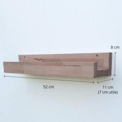 Louise - Tablette/Étagère murale en bois avec rebord - 52 cm de largeur