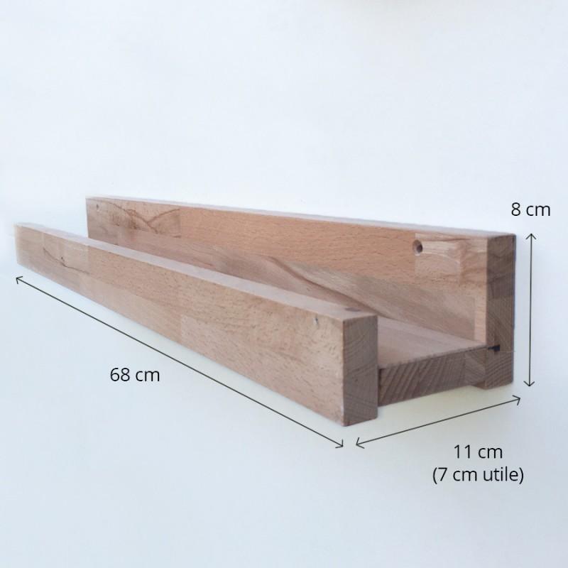 Louise - Grande tablette/étagère murale en bois avec rebord - 68 cm de largeur