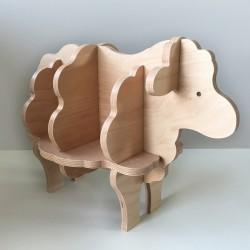 Augustin - Bibliothèque en forme de mouton - Bois brut vernis - Photo 1