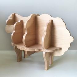 Augustin - Bibliothèque en forme de mouton - Bois brut vernis - Photo 4