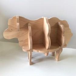 Augustin - Bibliothèque en forme de mouton - Bois brut vernis - Photo 5