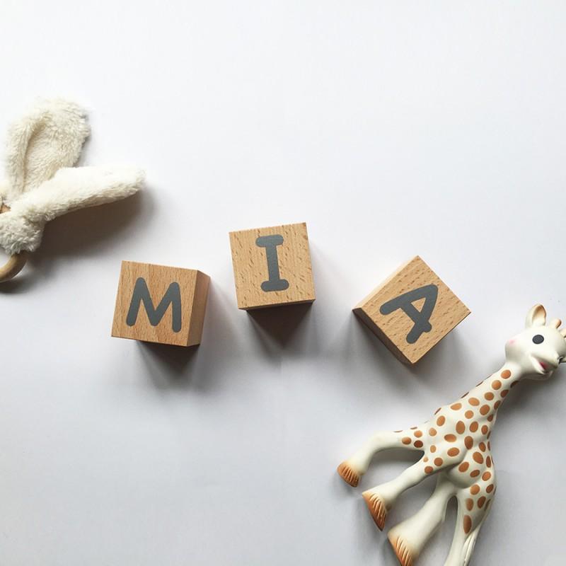 Cubes prénom naissance en bois - Lettres argentées - Photo 3