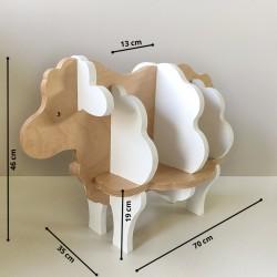 Augustin - Bibliothèque enfant en forme de mouton - Bois brut vernis et blanc - Dimensions