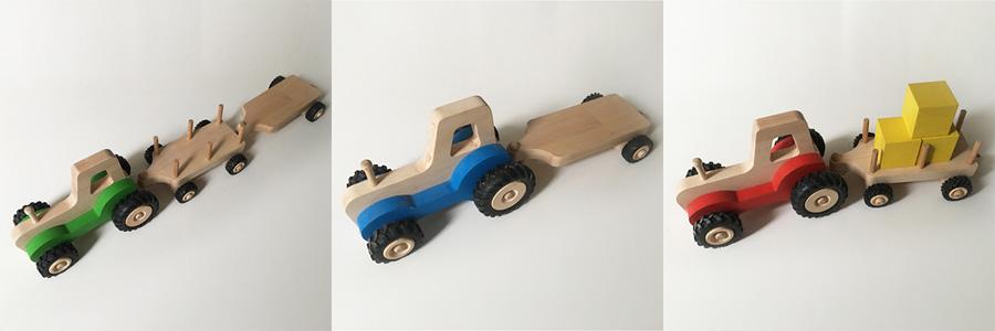 Tracteur en bois pour enfant avec remorque
