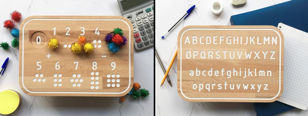 Simone, planche de traçage Montessori en bois Alphabet et nombres