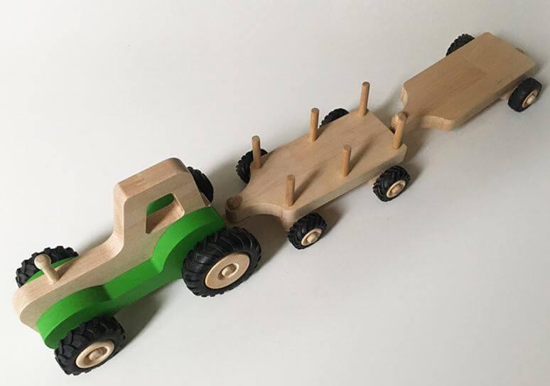 Serge le tracteur en bois - Pack 2 remorques