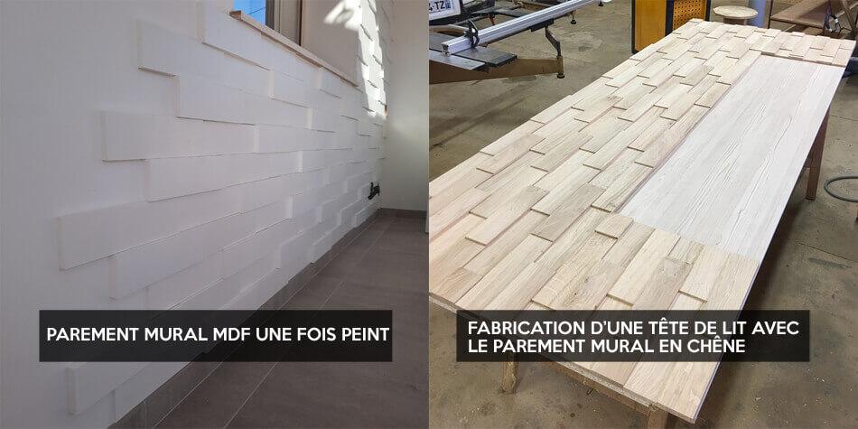 Exemples utilisation parement mural en bois